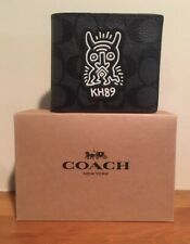 Coach Men's Keith Haring Compact ID 3 IN 1 Wallet PVC Charcoal Black F68217 $198