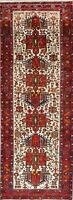 One-of-a-Kind  Geometric Tribal Heriz Oriental HandKnotted 4x10 Ivory Runner Rug