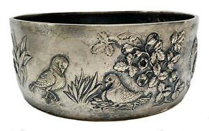 Italian 800 Silver Animal Nature Scene Repousse Bowl c1950