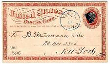 1873 U.S. Scott UX1 postal card blue Ratteville, WI strike