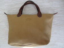 LONGCHAMP ECHT LEDER SHOPPER HANDBAG TASCHE BEIGE BRAUN ORIGINAL LEATHER BAG