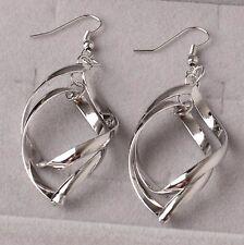 Lot 2 Paires de boucles d'oreilles triangle acier argenté neuve