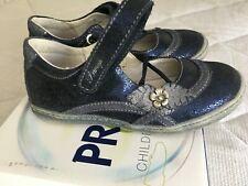 Girls PRIMIGI 100% leather sparkling blue party shoes size 27 UK 9