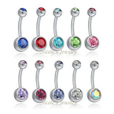 1pc 14G Double Gem Belly Bar Surgical Steel Button Navel Ring Crystal Piercing