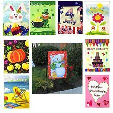 Seasonal Holiday Garden Flags Set of 9 with Black Flag Pole – 12in x 18in