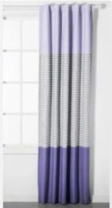 "Pillowfort Purple Gray Striped Colorblock Blackout Curtain Panel 42"" X 95"" New"