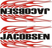 "PAIR OF JACOBSEN FLAMING  DECALS RED & BLACK   1 L & 1 R   3 3/4"" X 9"