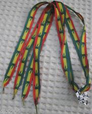 Rasta Red Yellow Green Marijuana MJ Weed leaves Rockabilly Punk Shoelaces-New!