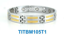 Cool High power mens magnetic Titanium bracelet (5000 gauss magnets) Gold&Silver