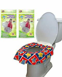 24 Large Disposable Toilet Seat Covers  Portable Potty Seat 2 Packs of 12 Covers