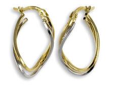 ECHT GOLD *** Creolen Ohrringe geschwungen bicolor 23 mm