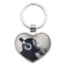 Headphone Chimp Monkey Wall Heart Love Metal Keychain Key Chain Ring