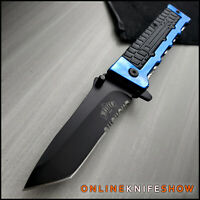 """8.3"""" Tactical Spring TANTO BLADE  Assisted Open RESCUE Folding Pocket Knife BLUE"""