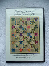 """SPRING SPROUTS MACHINE EMBROIDERY APPLIQUE 8"""" X 8"""" BLOCKS CD AND QUILT PATTERN"""