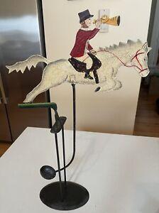 Vintage Metal Horse & Rider Fox Hunt Sky Hook Balance Toy Folk Art Talley.Ho