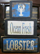Ocean Fresh Lobster Nautical Primitive Rustic Stacking Blocks Wooden Sign Set