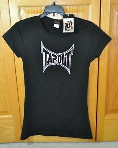 MMA UFC TAPOUT Ladies Graphic T-Shirt Black/Pink Size Large Neww Tags