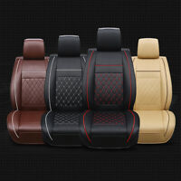 Car Seat Covers Universal PU Leather Cushions Black & Red Front Stitching