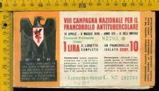Libretto erinnofilo antitubercolare tv 179