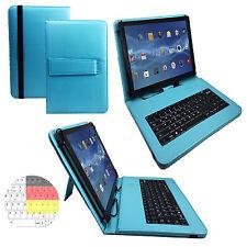 9.6 zoll Qwertz Tablet Tasche - Huawei MediaPad T1 10.0 Hülle - Tastatur Türkis