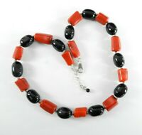 """Vintage Red Coral Onyx Dyed Necklace Solid 925 Sterling Silver Post Earrings 17"""""""