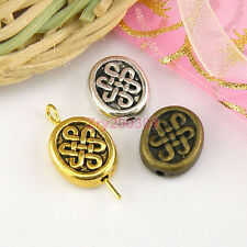 15Pcs Tibetan Silver,Antiqued Gold,Bronze Flat Oval Spacer Beads 10x11mm M1655