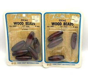 """Beads Fibre Craft Oval Wood Beads 1 5/8"""" Long No 2967 10 Beads Total"""