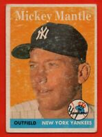 1958 Topps #150 Mickey Mantle VG-VGEX New York Yankees Hall of Fame FREE S/H