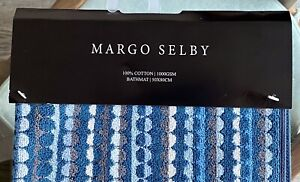 Margo Selby Blue Circle Pattern Cotton Bath Mat