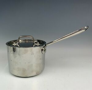 All Clad Polished Stainless Steel Cookware Oven Broiler Sauce Pot Pan w Lid RMG
