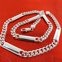 Necklace Chain Real 925 Sterling Silver S/F Solid Mens Italian Bling Curb Cuban