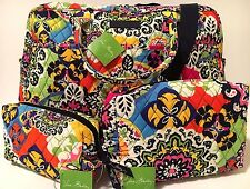 Vera Bradley RIO WEEKENDER & COSMETICS Set Travel Luggage Bag NWT