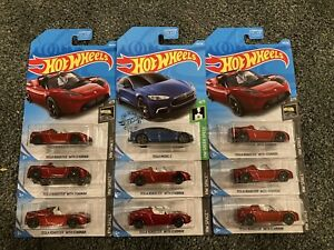 Hot Wheels Tesla 9 Car Lot Roadster W/ Starman and Model S
