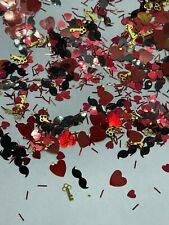 Valentine's  Hearts Mustache Key  Nail Glitter | 1 TSP | Gel Nail Art & Acrylic