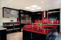 Red With Mirror, Kitchen Worktop, Quartz Sample