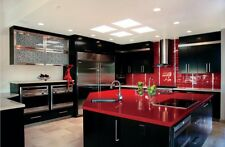 Red With Mirror, Kitchen Worktop, Quartz Sample