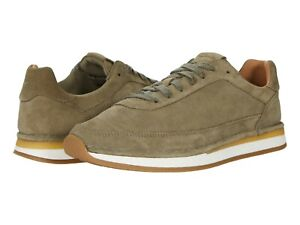 Men's Shoes Clarks CRAFTRUN LACE Suede Athletic Sneakers 57826 OLIVE COMBI