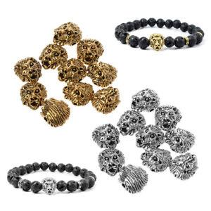 10Pcs Tibetan Lion Head Metal Spacer Beads for Bracelet  Jewelry DIY Findings