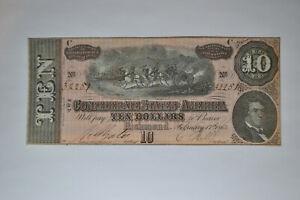 T-68 $10 Confederate Note- February 17, 1864-  Beautiful Uncirculated