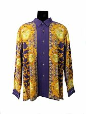 Men's Fashion Shirt in Purple with Golden Yellow Decorative Patterns