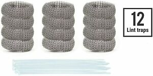 12 Lot Washing Machine Lint Traps Snare Filter Screen Stainless Steel Mesh Ties