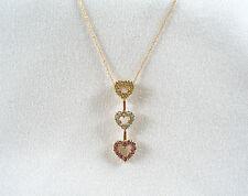 .75 Ct. Peridot, Topaz, & Amethyst 'Hearts'  10k Gold Pendant & Necklace