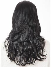 Women's 17 Colours Wavy Curly Half Head Wig Soft Synthetic Hair Lily Natural Black 1b