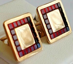 MULTI COLOURED IMITATION STONE MEN/'S CUFF LINKS /& TIE PIN IN A DISPLAY BOX