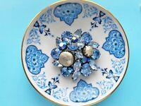Vintage Regency Shades of Blue Rhinestone Baroque Pearl Brooch Pin
