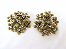 BIG Pea Green Flower & Rhinestone Clip Earrings Coro? 1940s?