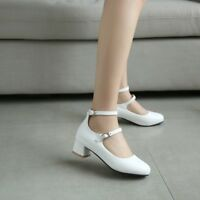 Womens Block Med Heels Buckle Round Toe Pumps Chunky Solid Party Mary Jane Shoes