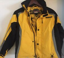 Spyder Ski Jacket  with Hood BLACK YELLOW Kids Boys 12 EUC