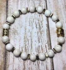 Healing Gemstone Howlite Bracelet W/Hematite Gold Buddah & Antique Spacer