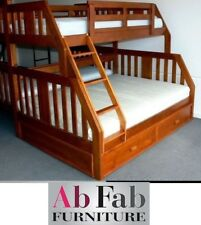 DOUBLE SINGLE TROY TRIO TIMBER BUNK AND TRUNDLE